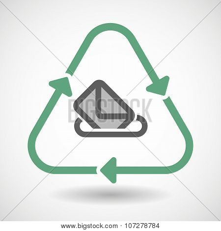 Line Art Recycle Sign Vector Icon With  A Ballot Box