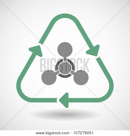 Line Art Recycle Sign Vector Icon With A Chemical Weapon Sign