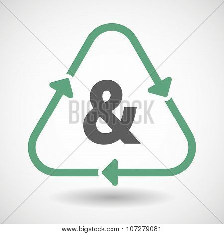 Line Art Recycle Sign Vector Icon With An Ampersand