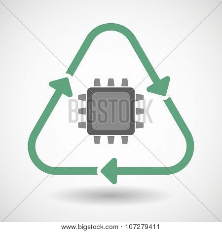 Line Art Recycle Sign Vector Icon With A Cpu