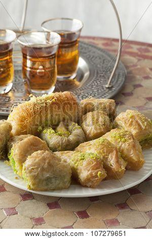 Traditional fresh baked Turkish kadayif and tea