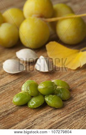 Ripe Ginkgo biloba fruit and nuts