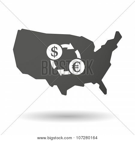 Isolated Usa Vector Map Icon With A Dollar Euro Exchange Sign