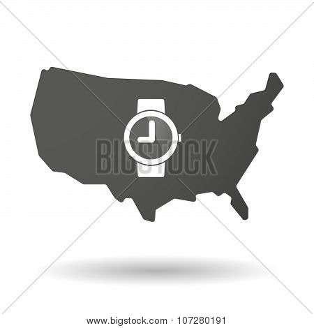 Isolated Usa Vector Map Icon With A Wrist Watch