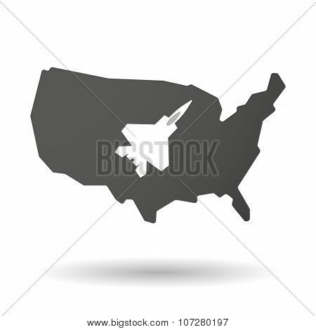 Isolated Usa Vector Map Icon With A Combat Plane