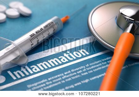 Inflammation - Printed Diagnosis. Medical Concept.