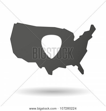 Isolated Usa Vector Map Icon With A Plectrum