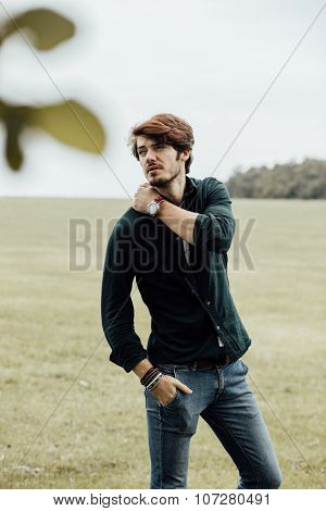 Handsome Man On A Field