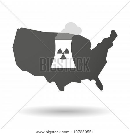 Isolated Usa Vector Map Icon With A Nuclear Power Station