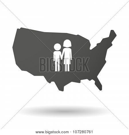 Isolated Usa Vector Map Icon With A Childhood Pictogram
