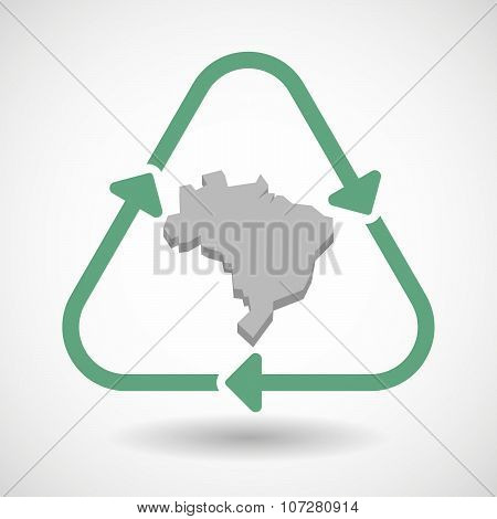 Line Art Recycle Sign Vector Icon With  A Map Fo Brazil