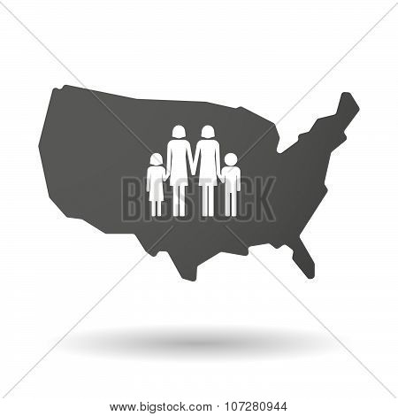 Isolated Usa Vector Map Icon With A Lesbian Parents Family Pictogram