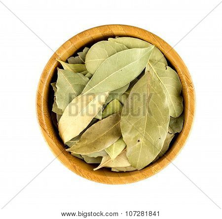 Aerial View Of Dried Bay Leaves In A Bowl Isolated On White