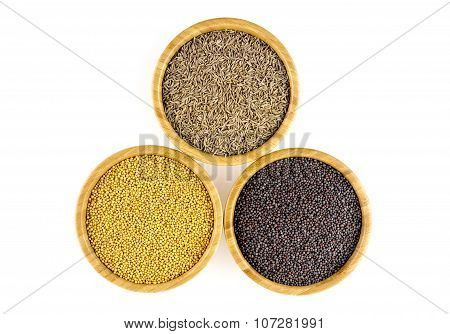 Tasty Mustard (yellow, Black) And Cumin Isolated On White