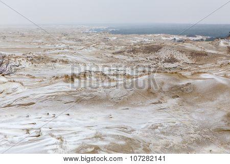 Snow covered sand dunes in Kaliningrad region, Russia