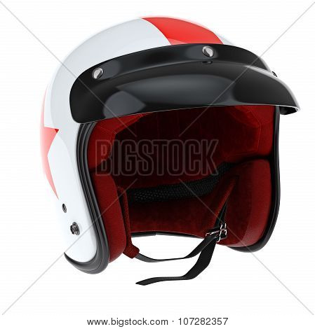 Sports helmet with glossy black visor