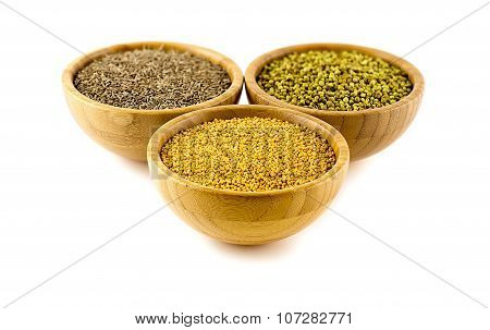 North Indian Cooking Spices In Wood Bowls Isolated