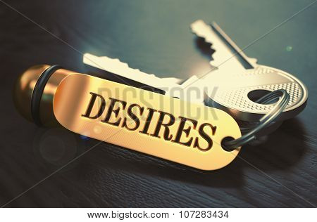 Desires written on Golden Keyring.