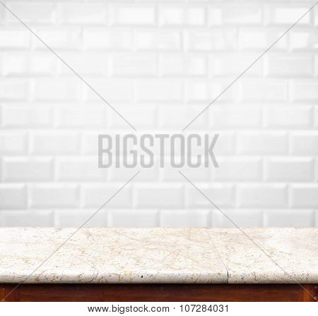 Empty Marble Table And Ceramic Tile Brick Wall In Background. Product Display Template.