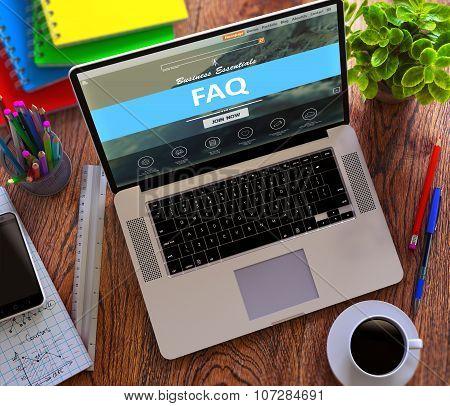 FAQ Concept on Modern Laptop Screen.