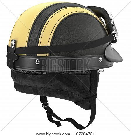 Sport motorcycle helmet with protective ear studs and chrome plating