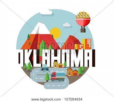Oklahoma, great destination to visit, vector cartoon