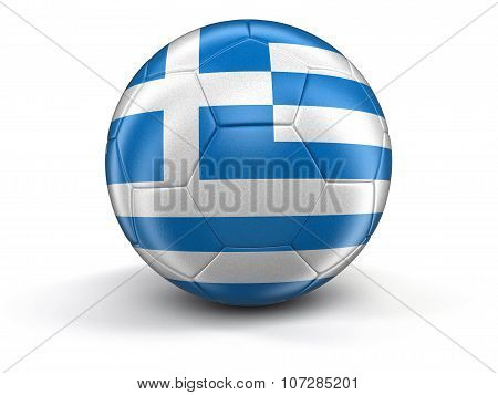 Soccer football with Greek flag