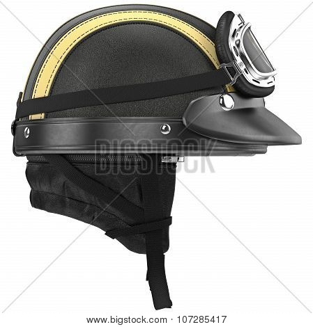 Leather motorcycle helmet with goggles and ear, side view