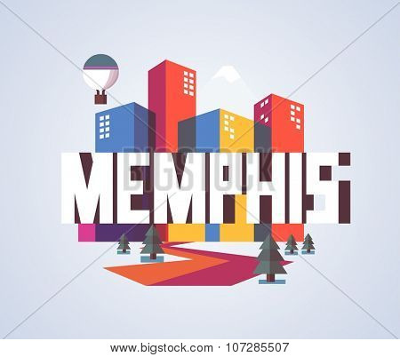 Memphis, Tennessee great destination to visit, vector cartoon