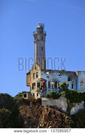 Lighthouse Positioned On Alcatraz Island