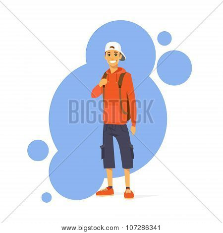 Casual Man Cartoon Character Standing Smile Isolated