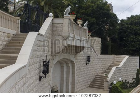 Balcony in the Bahai Temple Haifa Israel