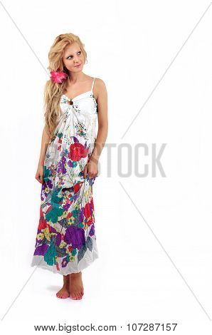 Beautiful Young Blond Women With Tropical Dress, Isolated