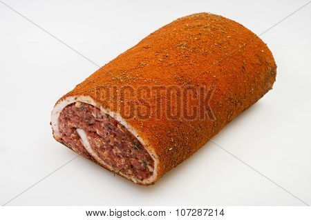 raw pork Meat Loaf with spices on white