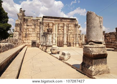 Ruins Of Ancient Synagogue In Capernaum, Israel.