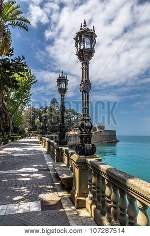 Walk along the city walls of Cadiz, Spain