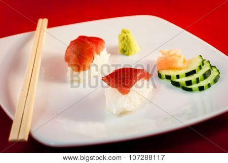 Sushi Bluefin Tuna Fish Nigiri with chopsticks