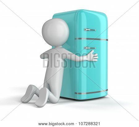 Retro refrigerator and man