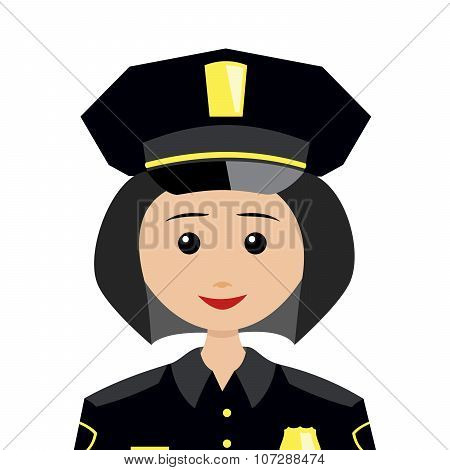 Female Policeman With Long Black Hair