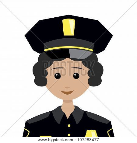 Female Policeman With Black Hair