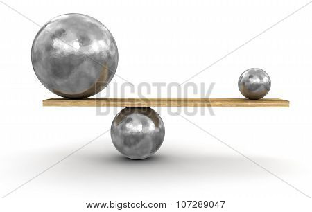 Metal balls balanced on plank (clipping path included)