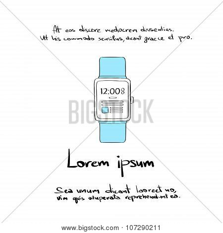 Smart Watch Hand Draw Color Icon Vector