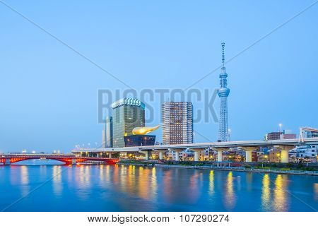 Tokyo Skytree landmark and Sumida river