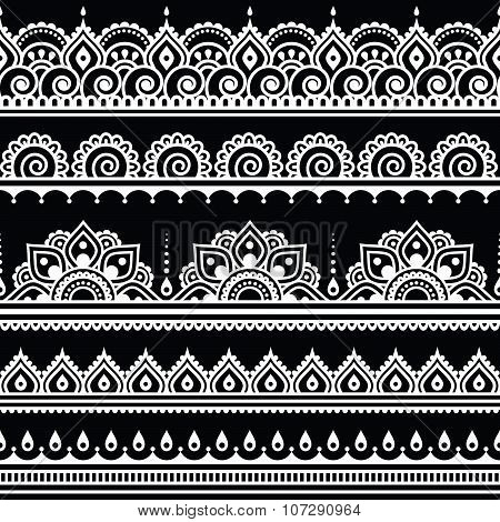 Mehndi, Indian Henna tattoo seamless white pattern on black background