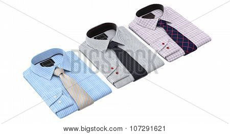 Set of striped and checkered shirts with patterned tie