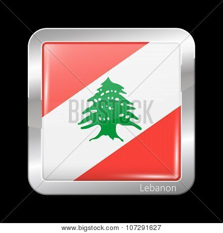 Flag Of Lebanon. Metallic Icon Square Shape. This Is File From The Collection Flags Of Asia