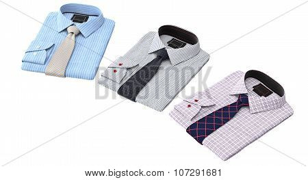 Men's classic striped and checkered shirt with patterned tie