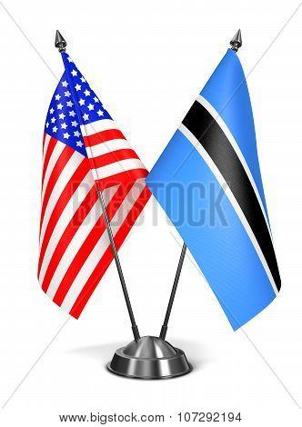 USA and Botswana - Miniature Flags.