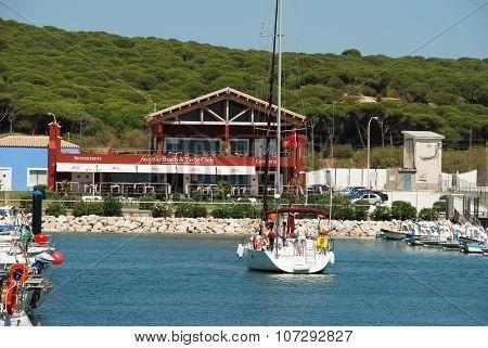 Yacht in Barbate marina.