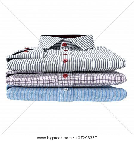 Stack of classic men's shirts, front view
